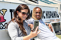 Cary, North Carolina  - Saturday August 19, 2017: Sabrina D'Angelo and Jessica McDonald prior to a regular season National Women's Soccer League (NWSL) match between the North Carolina Courage and the Washington Spirit at Sahlen's Stadium at WakeMed Soccer Park. North Carolina won the game 2-0.