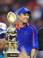 Jan. 4, 2010; Glendale, AZ, USA; Boise State Broncos head coach Chris Petersen against the TCU Horned Frogs in the 2010 Fiesta Bowl at University of Phoenix Stadium. Boise State defeated TCU 17-10. Mandatory Credit: Mark J. Rebilas-