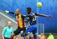 20170415 - LENS , FRANCE : Lens' John Bostock (L) and Auxerre's Birama Toure (R) pictured during the soccer match between Racing Club de LENS and AJ Auxerre , on the thirty third matchday in the French Dominos pizza Ligue 2 at the Stade Bollaert Delelis stadium , Lens . Saturday 15 April 2017 . PHOTO DIRK VUYLSTEKE | SPORTPIX.BE