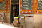 A cafe in Madrid, Spain with decorative tiles.