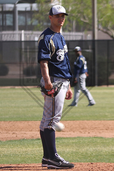 MARYVALE - March 2014: Brad Mills of the Milwaukee Brewers during a spring training workout on March 19th, 2014 at Maryvale Baseball Park in Maryvale, Arizona.  (Photo Credit: Brad Krause)