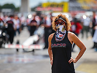 Sep 2, 2018; Clermont, IN, USA; Kay Torrence, mother of NHRA top fuel driver Steve Torrence during qualifying for the US Nationals at Lucas Oil Raceway. Mandatory Credit: Mark J. Rebilas-USA TODAY Sports