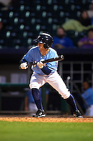 NW Arkansas Naturals designated hitter Ethan Chapman (23) squares to bunt during a game against the San Antonio Missions on May 30, 2015 at Arvest Ballpark in Springdale, Arkansas.  San Antonio defeated NW Arkansas 5-2.  (Mike Janes/Four Seam Images)
