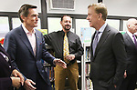 WATERBURY CT. 17 May 2019-051719SV06-Governor Ned Lamont, right talks with Jim Smith and Joseph Amato, Wendell Cross Elementary School principal, at the school in Waterbury Friday.<br /> Steven Valenti Republican-American