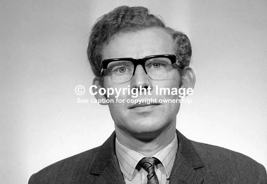 Robin Baillie, MP, Newtownabbey, Ulster Unionist, N Ireland Parliament, Stormont, Belfast. March 1969. 196903000113<br />