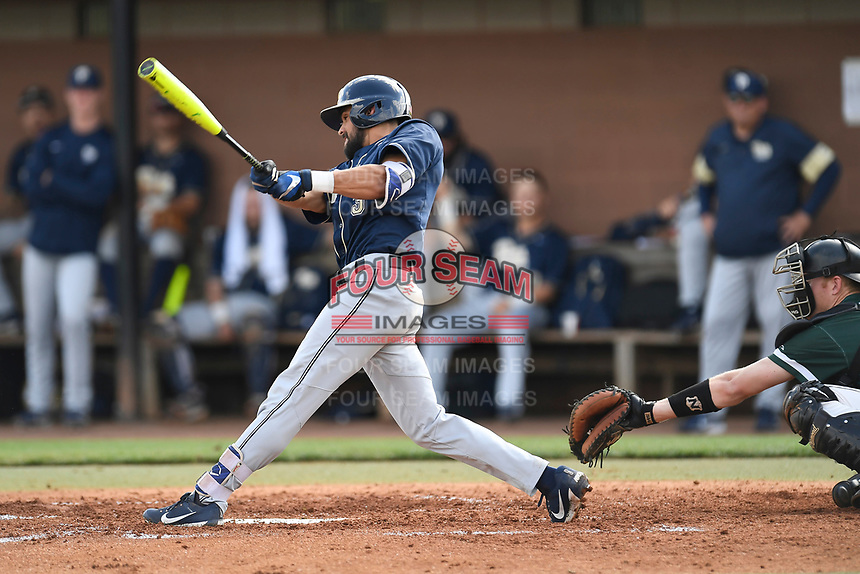Center fielder Frank Maldonado (3) of the Pittsburgh Panthers bats in a game against the University of South Carolina Upstate Spartans on Saturday, February 24, 2018, at Cleveland S. Harley Park in Spartanburg, South Carolina. The catcher is Charlie Carpenter. Pittsburgh won, 3-1. (Tom Priddy/Four Seam Images)