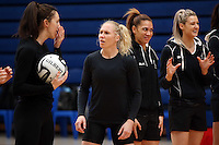 14.10.2016 Silver Ferns Laura Langman in action at the Silver Ferns training at the Auckland Netball Centre in Auckland. Mandatory Photo Credit ©Michael Bradley.