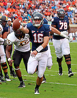 Virginia Cavaliers quarterback Michael Rocco (16) runs the ball in for a touchdown during the game against the Southern Miss Golden Eagles at Scott Stadium. Virginia lost  30-24. (Photo/Andrew Shurtleff)