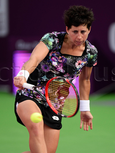 24.02.2016. Doha, Qatar.  Carla Suarez Navarro of Spain competes during the singles third round match against Timea Bacsinszky of Switzerland at the WTA Tennis Damen Qatar Open 2016 in Doha, Qatar, Feb. 24, 2016. Carla Suarez Navarro won 2-0.