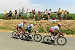 The early breakaway featuring Natnael Berhane (ERI) Cofidis, Xandro Meurisse (BEL) Wanty-Gobert and Mads Würtz Schmidt (DEN) Team Katusha Alpecin in action during Stage 1 of the 2019 Tour de France running 194.5km from Brussels to Brussels, Belgium. 6th July 2019.<br /> Picture: ASO/Alex Broadway | Cyclefile<br /> All photos usage must carry mandatory copyright credit (© Cyclefile | ASO/Alex Broadway)