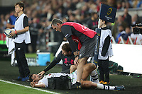 Remi Lamerat of Clermont is tended to by physios during the Champions Cup Round 1 match between Ospreys and Clermont at The Liberty Stadium, Swansea, Wales, UK. Sunday 15 October 2017