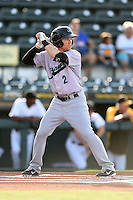 Jupiter Hammerheads designated hitter Blake Barber (2) at bat during a game against the Bradenton Marauders on June 25, 2014 at McKechnie Field in Bradenton, Florida.  Bradenton defeated Jupiter 11-0.  (Mike Janes/Four Seam Images)