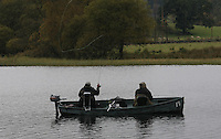 General view of fly fishermen on Lake of Menteith, Trossachs.