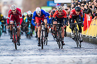 Picture by Alex Broadway/SWpix.com - 04/03/2018 - Cycling - 2018 Paris Nice - Stage One - Chatou to Meudon  - Christophe Laporte of Confidis Credit Solutions, Arnaud Demare of Groupama FDJ, Gorka Izagirre of Bahrain Merida and Tim Wellens of Lotto Soudal sprint for the line.<br /> <br /> NOTE : FOR EDITORIAL USE ONLY. THIS IS A COPYRIGHT PICTURE OF ASO. A MANDATORY CREDIT IS REQUIRED WHEN USED WITH NO EXCEPTIONS to ASO/Alex Broadway MANDATORY CREDIT/BYLINE : ALEX BROADWAY/ASO