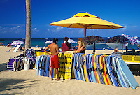 Vacationers seeking a bit more adventure can rent boogie boards on famous Waikiki Beach on Oahu.