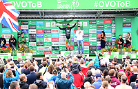 Picture by Simon Wilkinson/SWpix.com 05/09/2017 - Cycling OVO Energy Tour of Britain - Stage 4 Mansfield to Newark on Trent<br /> Finish Newark on Trent - podiums<br /> An Post - Chain Reaction's Jacob Scott takes the Skoda King of the Mountains Jersey after Stage 4 of the OVO Energy Tour of Britain.