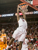 NWA Democrat-Gazette/ANTHONY REYES &bull; @NWATONYR<br /> Alandise Harris, Arkansas senior, dunks against Tennessee in the first half Tuesday, Jan. 27, 2015 in Bud Walton Arena in Fayetteville.