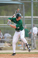 Babson Beavers center fielder Jake Oliger (42) during a game against the Edgewood Eagles on March 18, 2019 at Lee County Player Development Complex in Fort Myers, Florida.  Babson defeated Edgewood 23-7.  (Mike Janes/Four Seam Images)