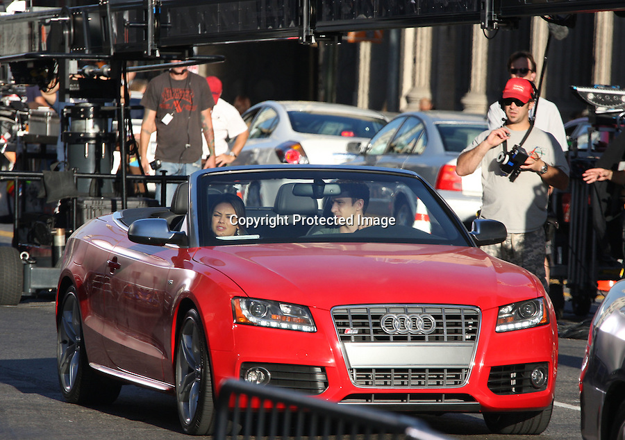 "August 26th 2010..Justin Timberlake driving in a red Audi convertible with Mila Kunis while Filming the movie ""Friends with Benefits"" on Hollywood Blvd....AbilityFilms@yahoo.com.805-427-3519.www.AbilityFilms.com"