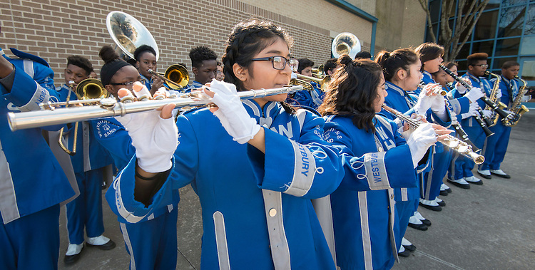 Members of the Westbury Band perform during a groundbreaking ceremony at Westbury High School, February 16, 2017.