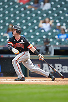Trey Ochoa (9) of the Sam Houston State Bearkats follows through on his swing against the Kentucky Wildcats during game four of the 2018 Shriners Hospitals for Children College Classic at Minute Maid Park on March 3, 2018 in Houston, Texas. The Wildcats defeated the Bearkats 7-2.  (Brian Westerholt/Four Seam Images)
