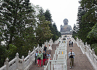 The Tian Tan Buddha, made of bronze, sits on Lantau Island in Hong Kong.