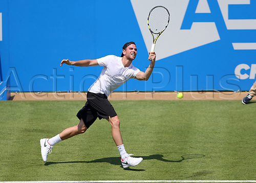 June 19th 2017, Queens Club, West Kensington, London; Aegon Tennis Championships, Day 1; Adrian Mannarino of France with a forehand shot during his game against Jo-Wilfried Tsonga of France