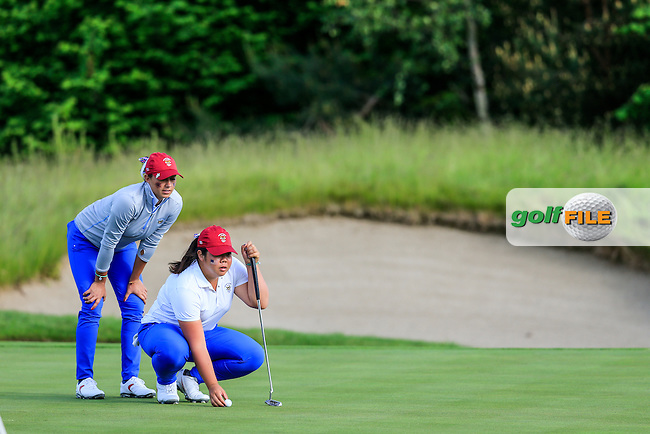 Monica Vaughn and Bethany Wu during the Saturday afternoon fourballs at the 2016 Curtis cup from Dun Laoghaire Golf Club, Ballyman Rd, Enniskerry, Co. Wicklow, Ireland. 11/06/2016.<br /> Picture Fran Caffrey / Golffile.ie<br /> <br /> All photo usage must carry mandatory copyright credit (&copy; Golffile | Fran Caffrey)