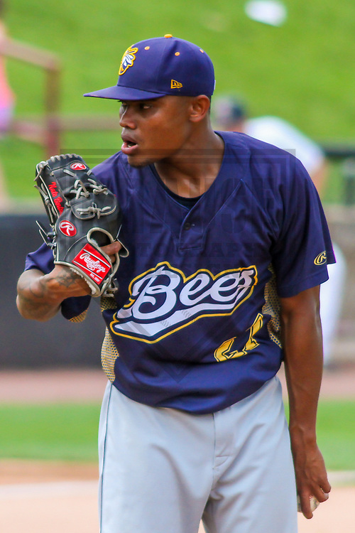 Burlington Bees pitcher Adrian Almeida (27) during a Midwest League game against the Wisconsin Timber Rattlers on July 10, 2017 at Fox Cities Stadium in Appleton, Wisconsin.  Burlington defeated Wisconsin 6-3. (Brad Krause/Krause Sports Photography)