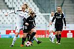 16.03.2019, Stadion Essen, Essen, GER, AFBL, SGS Essen vs TSG 1899 Hoffenheim, DFL REGULATIONS PROHIBIT ANY USE OF PHOTOGRAPHS AS IMAGE SEQUENCES AND/OR QUASI-VIDEO<br /> <br /> im Bild | picture shows:<br /> Lea Schueller (SGS Essen #24) im Duell mit Marith Priessen (FFC Frankfurt #13), <br /> <br /> Foto &copy; nordphoto / Rauch