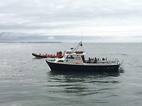 Pictured: The Gower Ranger boat STOCK PICTURE<br />Re: Twenty-three people have been rescued from a sinking boat off the coast of Pembrokeshire at about 7pm in west Wales, UK.<br />The Gower Ranger was taking on water while on a trip off the North Bishops islands, near Ramsay Island.<br />Two passenger boats, two lifeboats and a coastguard helicopter took part in the rescue.<br />21 passengers and two crew are safe and are being taken back to St Justinian's, near St Davids.<br />The North Bishops are a series of small island about three miles off St Davids Head.