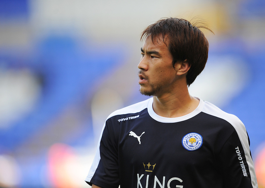 Leicester City&rsquo;s Shinji Okazaki during the pre-match warm-up <br /> <br /> Photographer Kevin Barnes/CameraSport<br /> <br /> Football - Pre-Season Friendly - Birmingham City v Leicester City - Saturday 1st August 2015 - St Andrew's - Birmingham<br /> <br /> &copy; CameraSport - 43 Linden Ave. Countesthorpe. Leicester. England. LE8 5PG - Tel: +44 (0) 116 277 4147 - admin@camerasport.com - www.camerasport.com