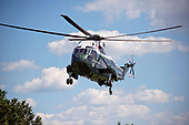 Very high resolution stock photo of the approach of Marine One from the South Lawn of the White House in Washington, DC on Friday, June 9, 2017.<br /> Credit: Ron Sachs / CNP