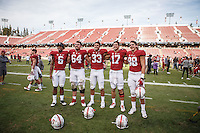 Stanford, CA - November 5, 2016: Francis Owusu, David Bright, Mike Tyler, Ryan Burns and Greg Taboada after the Stanford vs Oregon State game at Stanford Stadium Saturday. <br /> <br /> Stanford won 26-15.