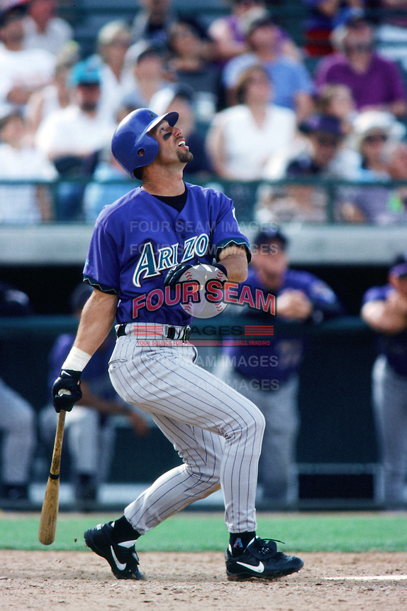 Luis Gonzalez of the Arizona Diamondbacks bats during a 1999 Major League Baseball Spring Training game in Phoenix, Arizona. (Larry Goren/Four Seam Images)