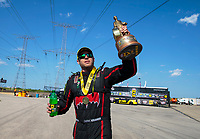 Jun 2, 2019; Joliet, IL, USA; NHRA pro stock driver Deric Kramer celebrates after winning the Route 66 Nationals at Route 66 Raceway. Mandatory Credit: Mark J. Rebilas-USA TODAY Sports