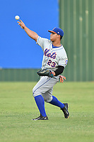 Kingsport Mets right fielder Raul Beracierta (23) throws the ball during a game against the Elizabethton Twins at Joe O'Brien Field on August 7, 2018 in Elizabethton, Tennessee. The Twins defeated the Mets 16-10. (Tony Farlow/Four Seam Images)