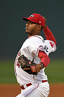Starting pitcher Denyi Reyes (41) of the Greenville Drive delivers a pitch in a game against the Rome Braves on Thursday, April 12, 2018, at Fluor Field at the West End in Greenville, South Carolina. Greenville won, 14-4 and Reyes earned the win. (Tom Priddy/Four Seam Images)