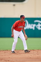 Canadian Junior National Team Cesar Valero (25) during a Florida Instructional League game against the Atlanta Braves on October 9, 2018 at the ESPN Wide World of Sports Complex in Orlando, Florida.  (Mike Janes/Four Seam Images)