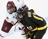 Chris Calnan (BC - 11), Westin Michaud (CC - 17) - The Boston College Eagles defeated the visiting Colorado College Tigers 4-1 on Friday, October 21, 2016, at Kelley Rink in Conte Forum in Chestnut Hill, Massachusetts.The Boston College Eagles defeated the visiting Colorado College Tiger 4-1 on Friday, October 21, 2016, at Kelley Rink in Conte Forum in Chestnut Hill, Massachusett.