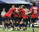 15 July 2007: Chile players celebrate the 96th minute goal which gave them the lead in extra time. Chile's Under-20 Men's National Team defeated Nigeria's Under-20 Men's National Team 4-0 after extra time in a  quarterfinal match at Olympic Stadium in Montreal, Quebec, Canada during the FIFA U-20 World Cup Canada 2007 tournament.