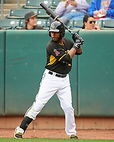 Rey Navarro (13) of the Salt Lake Bees during the game against the Fresno Grizzlies in Pacific Coast League action at Smith's Ballpark on April 17, 2017 in Salt Lake City, Utah. The Bees defeated the Grizzlies 6-2. (Stephen Smith/Four Seam Images)