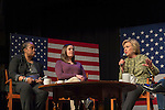 Port Washington, New York, USA. April 11, 2016. HILLARY CLINTON, Democratic presidential primary candidate, has a discussion on gun violence prevention with activists who lost family members due to shootings, including (L-R) MARIE DELUS who lost her nephew Pierre-Paul Jean-Paul in Queens and ERICA SMEGIELSKI who lost her mother Dawn Lafferty Hochsprungand the Sandy Hook Elementary School Principal in Newtown CT. Clinton stressed need for tougher gun control legislation and vowed to take on the gun lobby, NRA National Rifle Association.