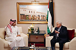 Palestinian President Mahmoud Abbas meets with the Qatar Foreign Minister Sheikh Mohammed bin Abdul Rahman, in Doha, on December 16, 2017. Photo by Thaer Ganaim