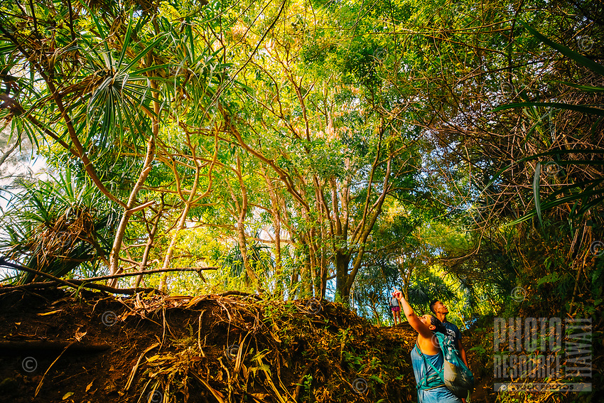 Hikers in Pololu Valley, North Kohala, Big Island of Hawai'i.