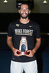 Petros Chrysochos of the Wake Forest Demon Deacons poses for a photo with his National Championship trophy following his win in the finals of the 2018 NCAA Men's Tennis Singles Championship at the Wake Forest Indoor Tennis Center on May 28, 2018 in Winston-Salem, North Carolina.  Petros Chrysochos defeated teammate Borna Gojo 6-3 6-3.  (Brian Westerholt/Sports On Film)