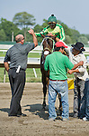 20 JUN 2010: Evenings End, Francisco Maysonett up, celebrates with trainer Timothy J. Kelly after winning The Bernie Dowd Handicap for NJ Breds.