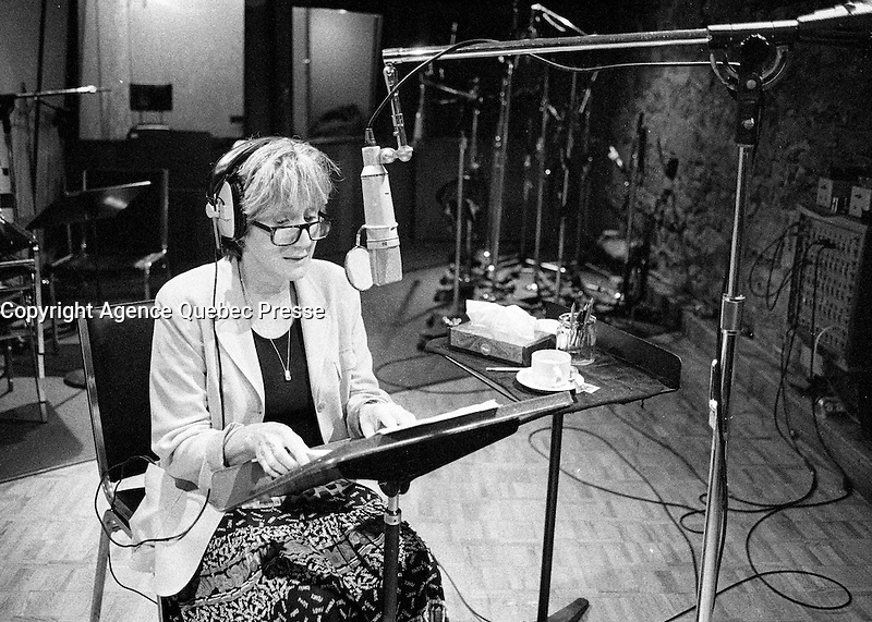 Montreal (Qc) Canada - August 29 1997 file Photo - Olympia Dukakis in a sound recording studio