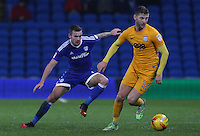 Paul Gallagher of Preston North End is challenged by Joe Ralls of Cardiff City during the Sky Bet Championship match between Cardiff City and Preston North End at Cardiff City Stadium, Wales, UK. Tuesday 31 January 2017