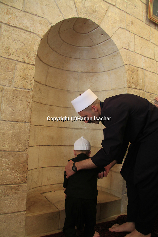Israel, lower Galilee, Nabi Shueib, the sacred site of the Druze, the Mihrab marking the spot where Nabi Shueib killed a snake